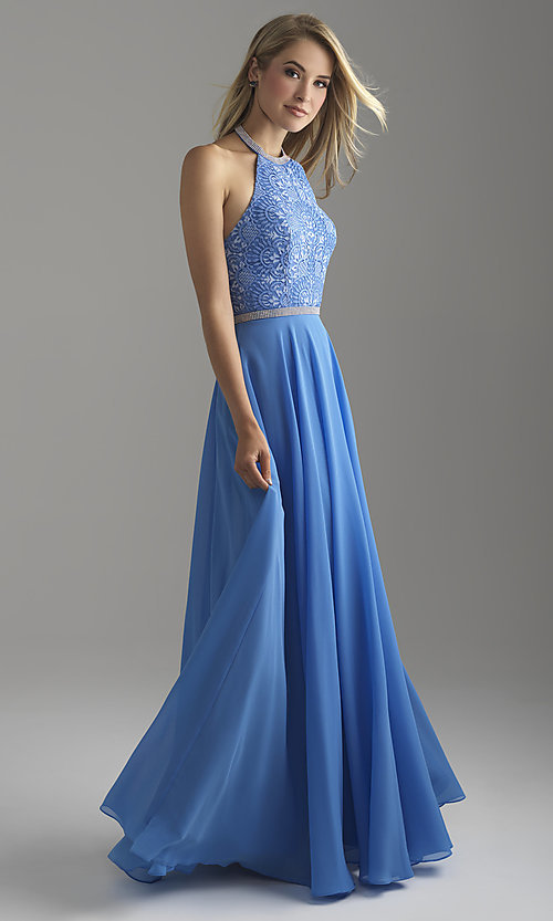 Image of open-back long Madison James halter prom dress. Style: NM-18-621 Detail Image 4