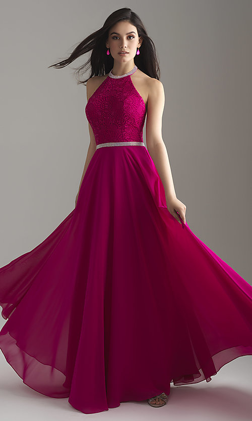 Image of open-back long Madison James halter prom dress. Style: NM-18-621 Detail Image 1