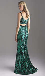 Image of two-piece scoop-neck sequin prom dress. Style: NM-18-636 Back Image
