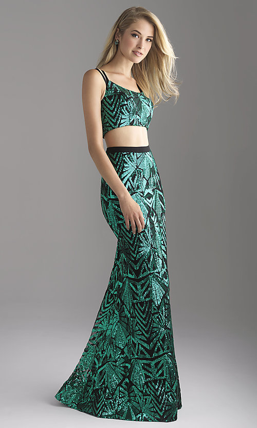 Image of two-piece scoop-neck sequin prom dress. Style: NM-18-636 Front Image