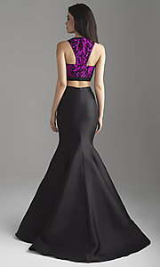 Image of Madison James two-piece long mermaid prom dress. Style: NM-18-637 Back Image
