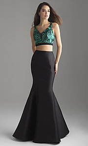 Image of Madison James two-piece long mermaid prom dress. Style: NM-18-637 Detail Image 2