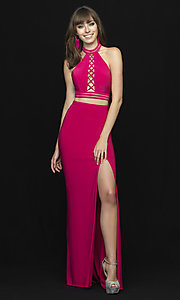 Image of two-piece open-back halter prom dress with slit. Style: NM-18-642 Detail Image 4