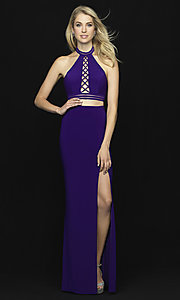 Image of two-piece open-back halter prom dress with slit. Style: NM-18-642 Detail Image 3