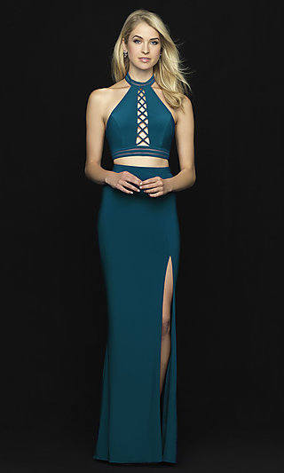 Two-Piece Open-Back Halter Prom Dress with Slit