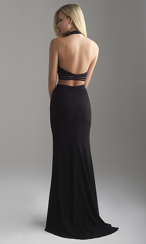 Image of two-piece open-back halter prom dress with slit. Style: NM-18-642 Back Image