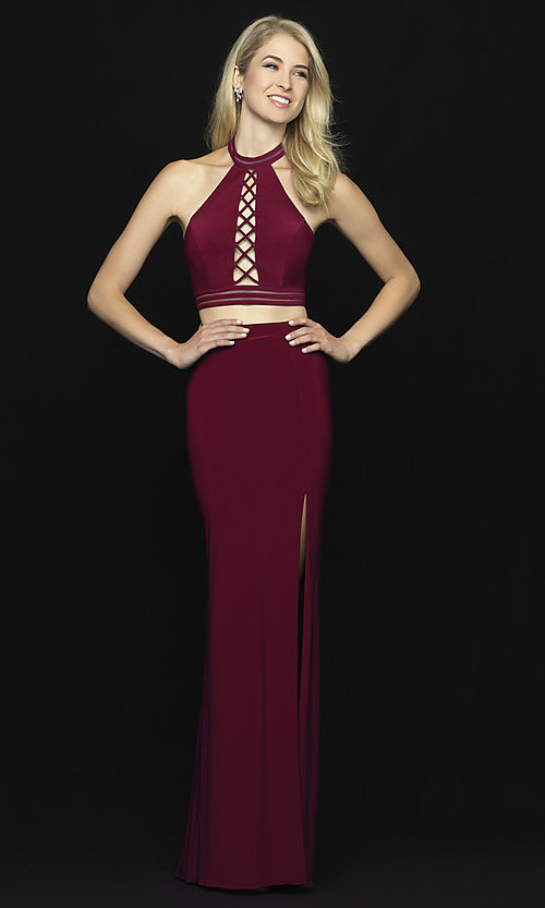 Image of two-piece open-back halter prom dress with slit. Style: NM-18-642 Detail Image 2