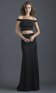 Image of two-piece off-shoulder prom dress by Madison James. Style: NM-18-648 Detail Image 3