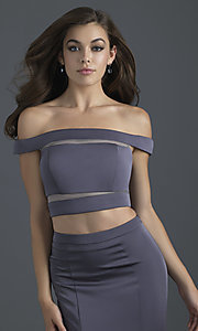 Image of two-piece off-shoulder prom dress by Madison James. Style: NM-18-648 Detail Image 2