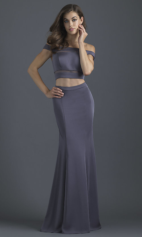 Image of two-piece off-shoulder prom dress by Madison James. Style: NM-18-648 Detail Image 1