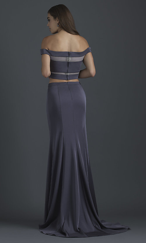 Image of two-piece off-shoulder prom dress by Madison James. Style: NM-18-648 Back Image