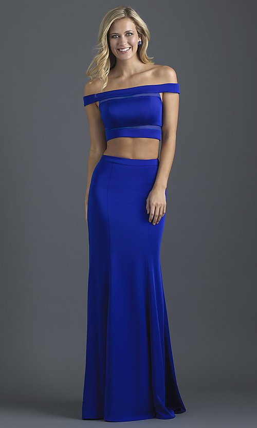 Image of two-piece off-shoulder prom dress by Madison James. Style: NM-18-648 Front Image