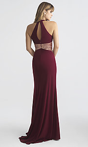Image of long Madison James prom dress with keyhole cut out. Style: NM-18-661 Back Image