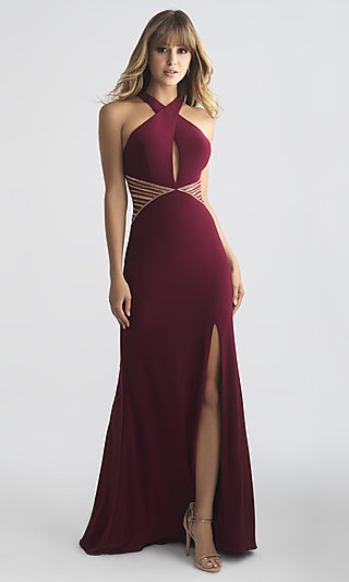 Long Madison James Prom Dress with a Keyhole Cut-Out