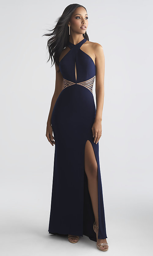 Image of long Madison James prom dress with keyhole cut out. Style: NM-18-661 Front Image