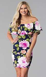 Image of floral-print off-the-shoulder short party dress. Style: TOP-D6166 Front Image