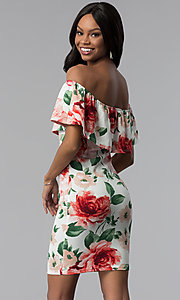 Image of floral-print off-the-shoulder short party dress. Style: TOP-D6166 Back Image