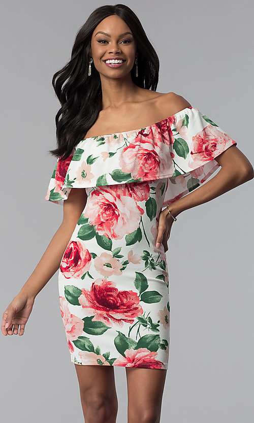Image of floral-print off-the-shoulder short party dress. Style: TOP-D6166 Detail Image 1