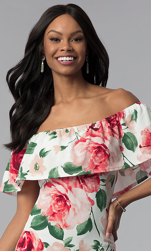 Image of floral-print off-the-shoulder short party dress. Style: TOP-D6166 Detail Image 2
