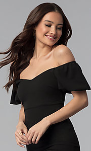Image of puff-sleeve short off-the-shoulder cocktail dress. Style: TOP-D6084 Detail Image 1