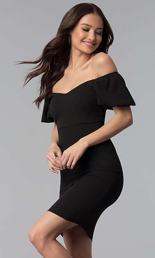Image of puff-sleeve short off-the-shoulder cocktail dress. Style: TOP-D6084 Front Image