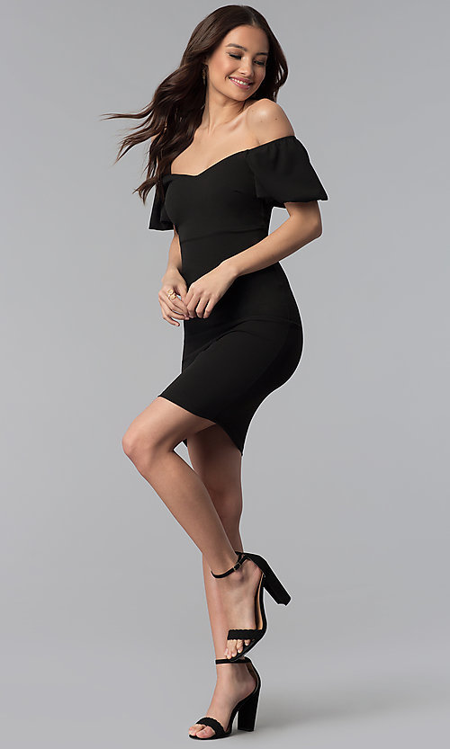 Image of puff-sleeve short off-the-shoulder cocktail dress. Style: TOP-D6084 Detail Image 2