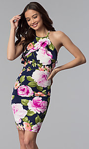 Image of short floral-print party dress with flutter collar. Style: TOP-MD4178 Front Image