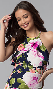 Image of short floral-print party dress with flutter collar. Style: TOP-MD4178 Detail Image 1