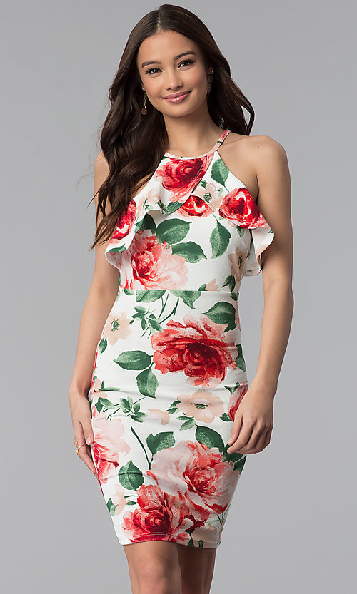 Image of short floral-print party dress with flutter collar. Style: TOP-MD4178 Detail Image 3