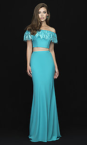 Image of off-the-shoulder two-piece prom dress with beads. Style: NM-18-667 Front Image