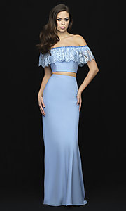 Image of off-the-shoulder two-piece prom dress with beads. Style: NM-18-667 Detail Image 3