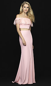 Image of off-the-shoulder two-piece prom dress with beads. Style: NM-18-667 Detail Image 1