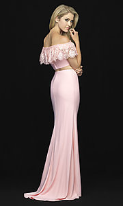 Image of off-the-shoulder two-piece prom dress with beads. Style: NM-18-667 Back Image