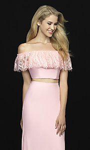 Image of off-the-shoulder two-piece prom dress with beads. Style: NM-18-667 Detail Image 2