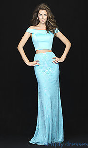 Image of long two-piece satin-bodice prom dress with lace. Style: NM-18-669 Front Image