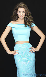 Image of long two-piece satin-bodice prom dress with lace. Style: NM-18-669 Detail Image 1