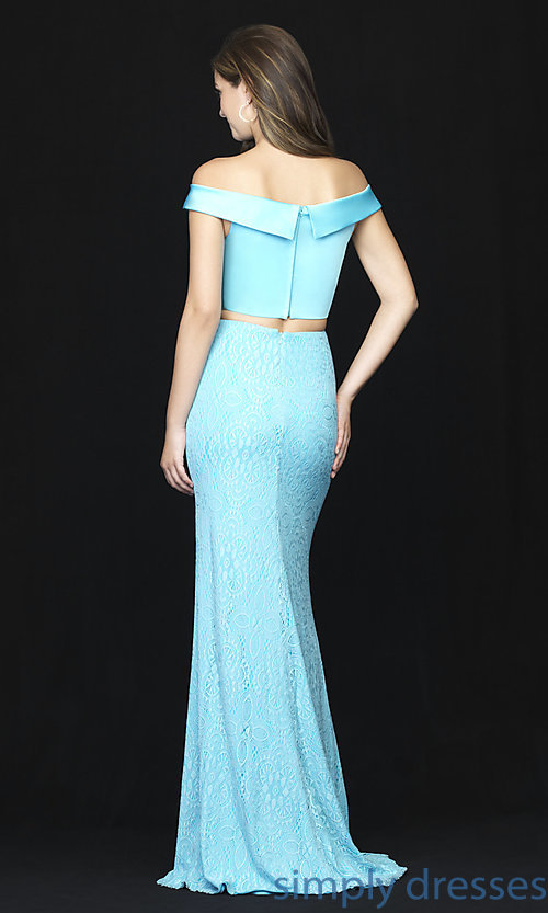Image of long two-piece satin-bodice prom dress with lace. Style: NM-18-669 Back Image