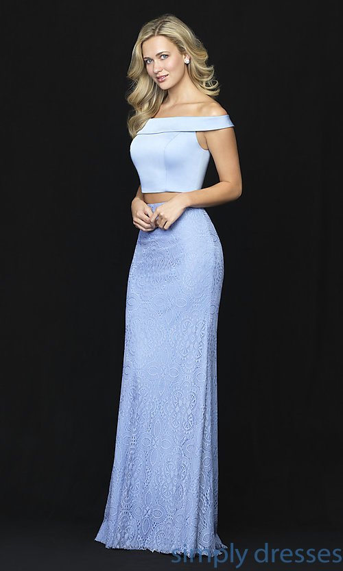 Image of long two-piece satin-bodice prom dress with lace. Style: NM-18-669 Detail Image 2