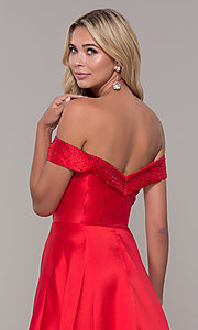 Image of rhinestone-accented off-the-shoulder long prom gown. Style: DJ-A6251 Detail Image 2