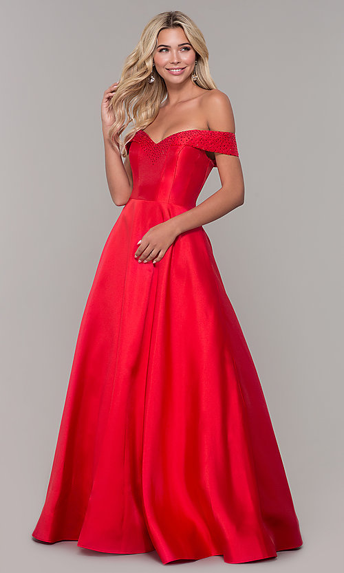 Image of rhinestone-accented off-the-shoulder long prom gown. Style: DJ-A6251 Front Image