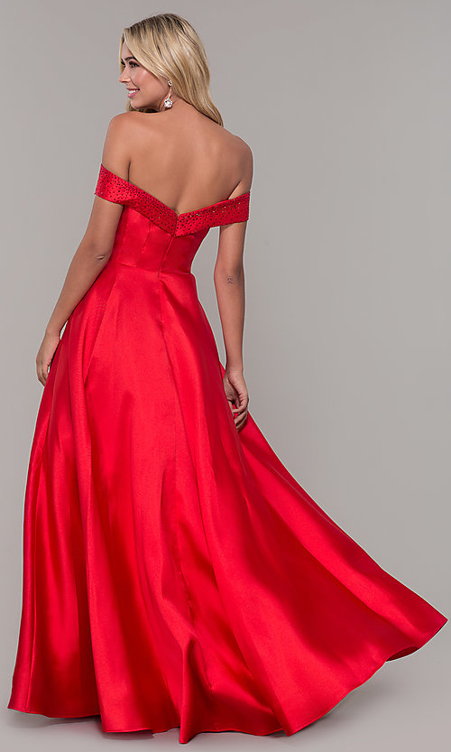 Image of rhinestone-accented off-the-shoulder long prom gown. Style: DJ-A6251 Back Image
