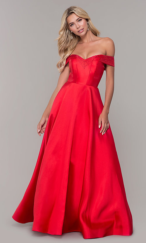 Image of rhinestone-accented off-the-shoulder long prom gown. Style: DJ-A6251 Detail Image 3