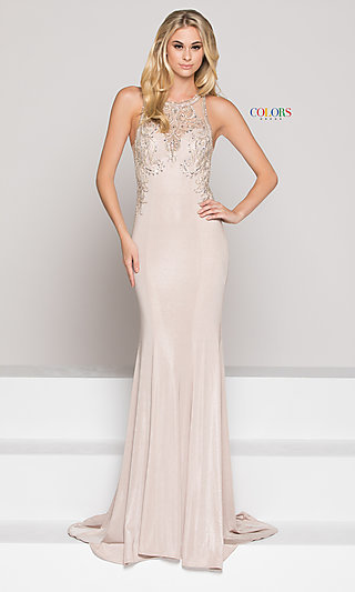 Long Illusion Open-Back Sweetheart Prom Dress with Train