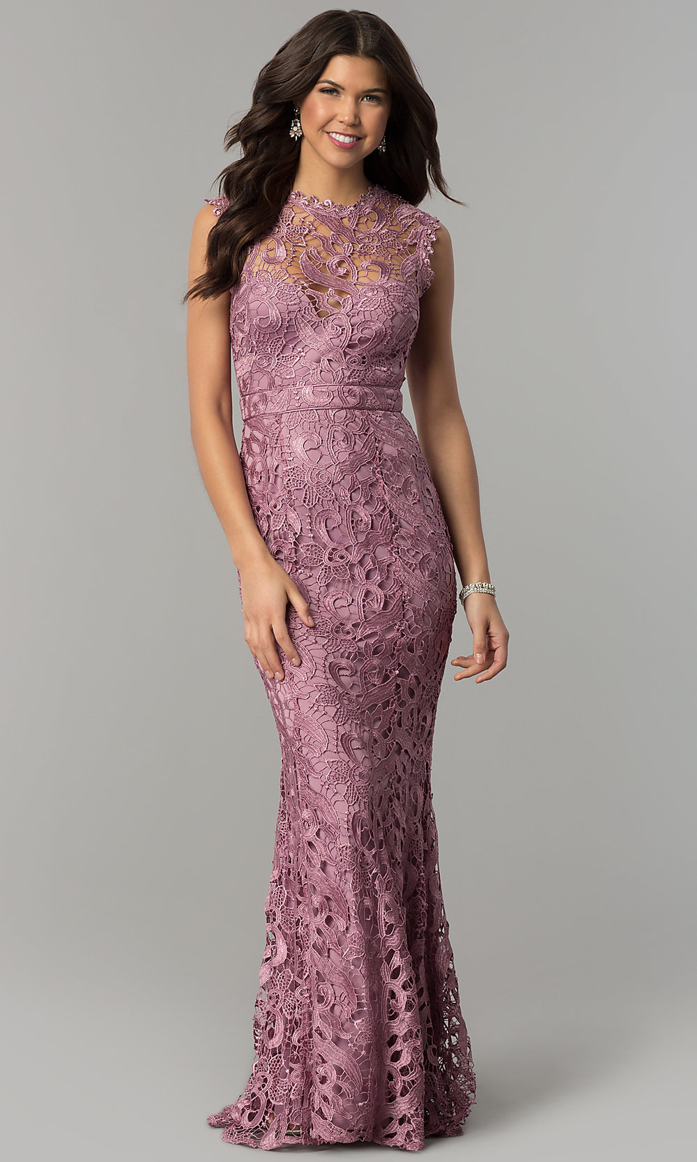 Mauve Embroidered Lace Long Mermaid Prom Dress