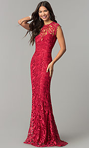 Image of mauve embroidered-lace long mermaid prom dress. Style: LP-24504m Detail Image 1