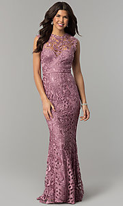 Image of mauve embroidered-lace long mermaid prom dress. Style: LP-24504m Front Image