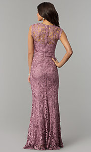 Image of mauve embroidered-lace long mermaid prom dress. Style: LP-24504m Back Image