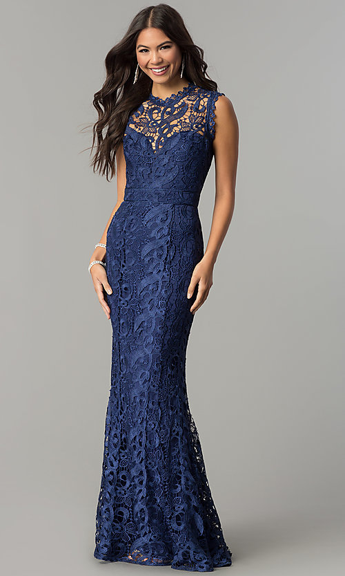 Image of mauve embroidered-lace long mermaid prom dress. Style: LP-24504m Detail Image 3