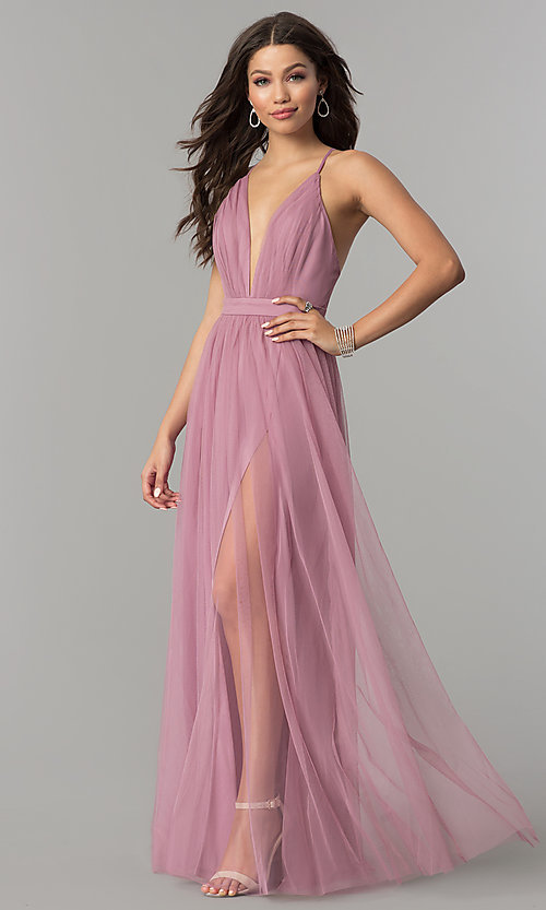 Image of mauve v-neck long tulle prom dress with open back. Style: LP-27450m Front Image