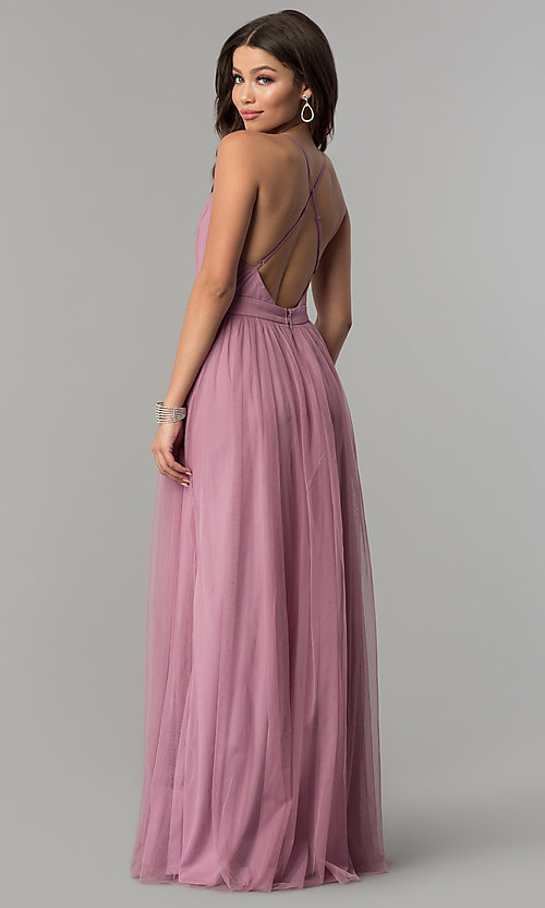 Image of mauve v-neck long tulle prom dress with open back. Style: LP-27450m Back Image